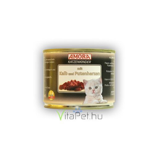 Amora Fleisch Pur Katzenkinder Kalb+Putenherz, konzerv macskáknak, 200 g Borjú+Pulykaszív