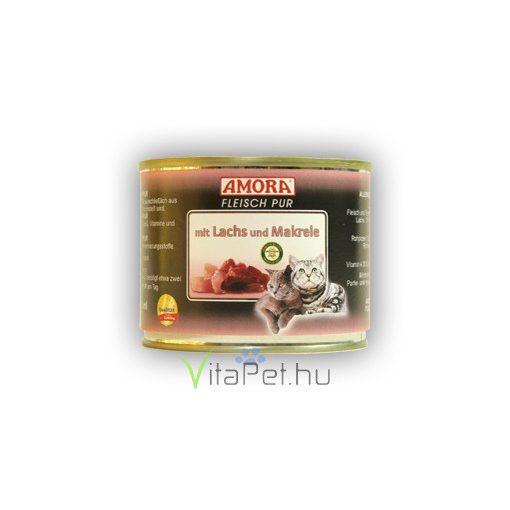 Amora Fleisch Pur Katze Lazac és Makréla  konzerv macskáknak, 200 g