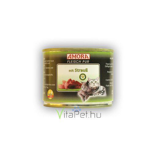 Amora Fleisch Pur Katze Strauss, konzerv macskáknak, 200 g strucc hússal