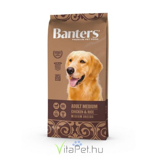 VISÁN BANTERS DOG ADULT MEDIUM CHICKEN & RICE 15 kg