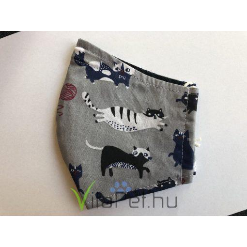 Maszk textil,  mintás, mosható szürke cicás