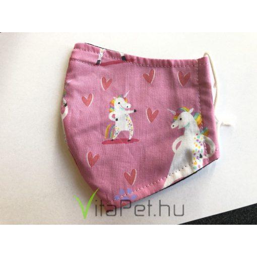 Maszk textil,  mintás, mosható unikornis