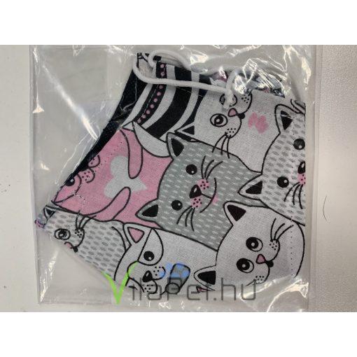 Maszk textil, mintás mosható, szürke-rózsaszín-fehér cicás
