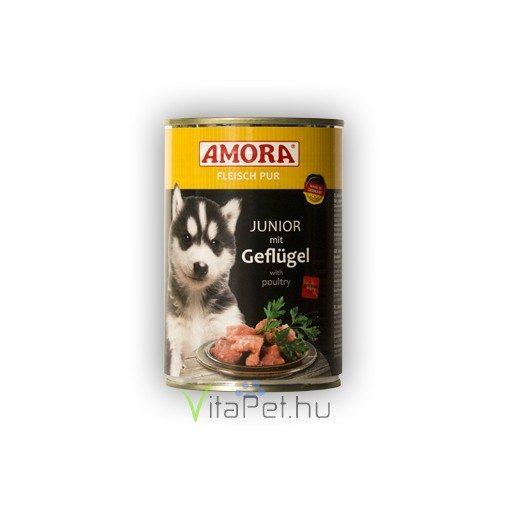 Amora Fleisch Pur Hund Junior Geflügel, (Csirkés)  konzerv kölyök kutyáknak, 400 g