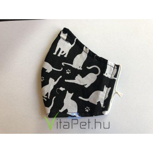 Maszk textil,  mintás, mosható ff cicás